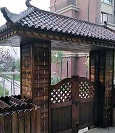 防腐木门头材质